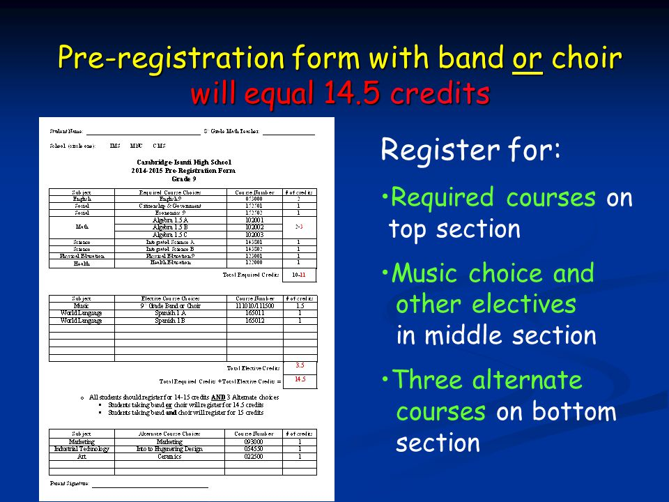 Pre-registration form with band or choir