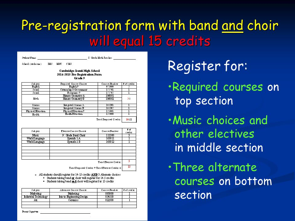 Pre-registration form with band and choir