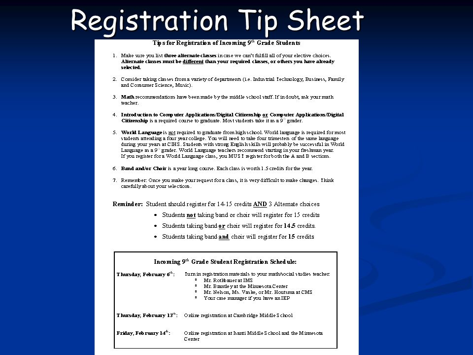 Registration Tip Sheet