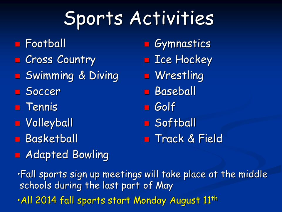Sports Activities Football Cross Country Swimming & Diving Soccer