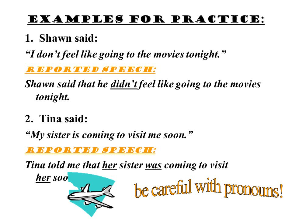 Examples for practice: