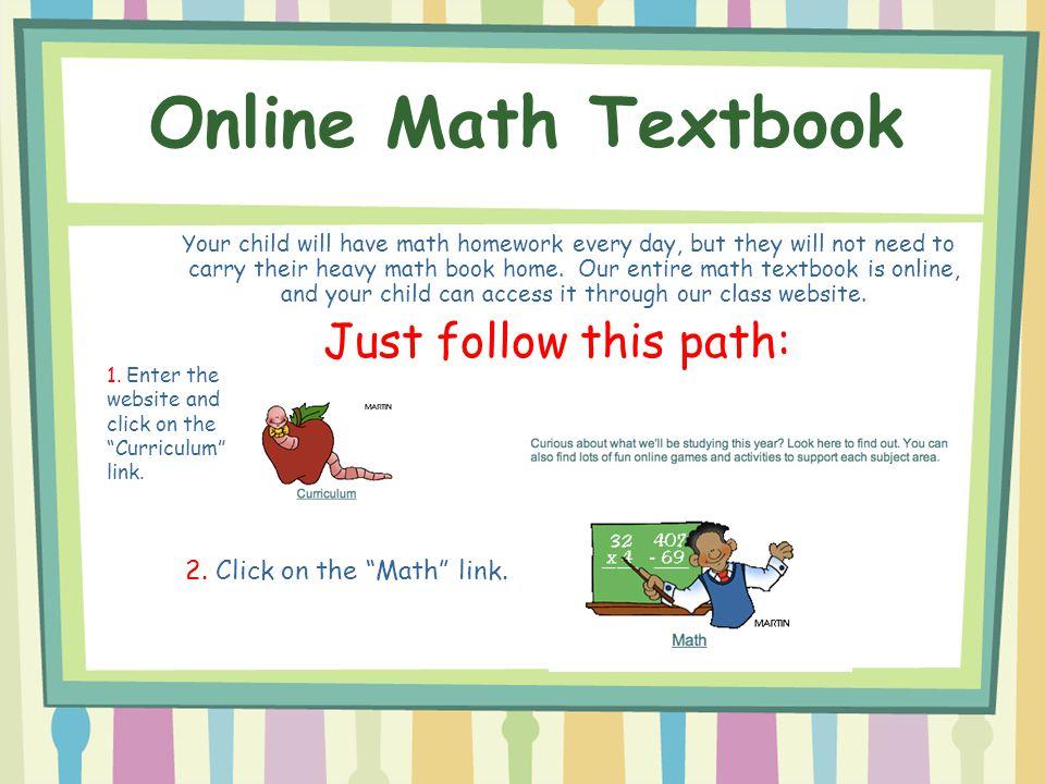 Online Math Textbook Just follow this path: