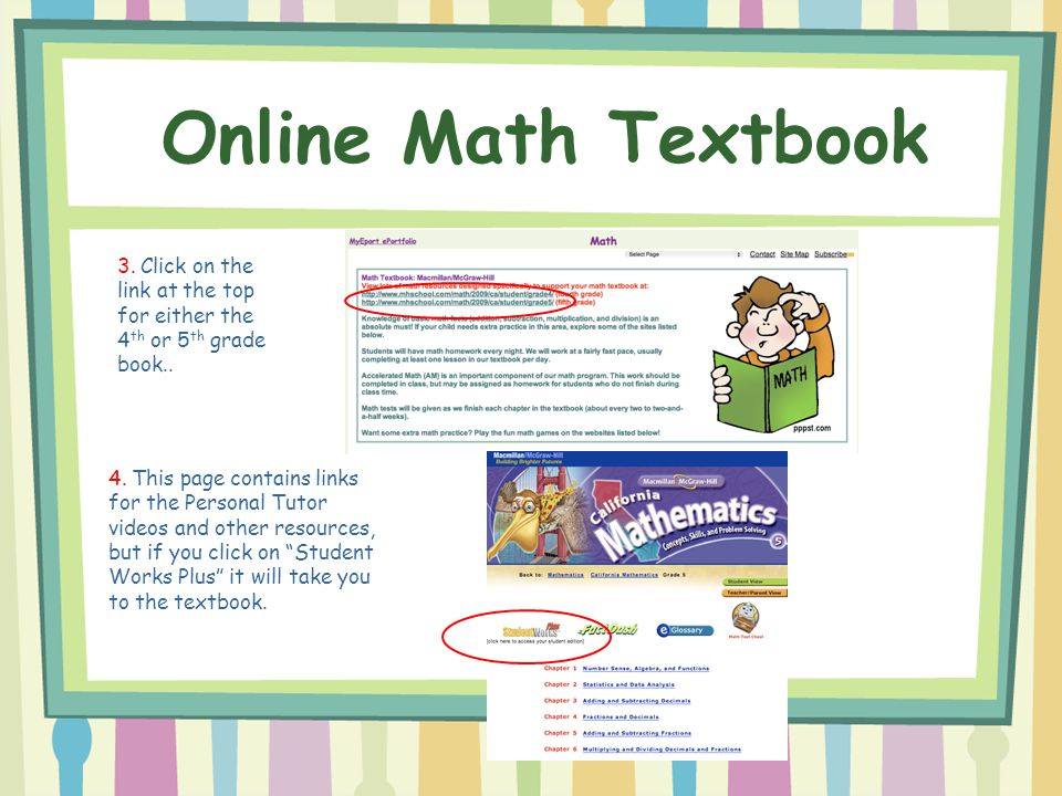 Online Math Textbook 3. Click on the link at the top for either the 4th or 5th grade book..
