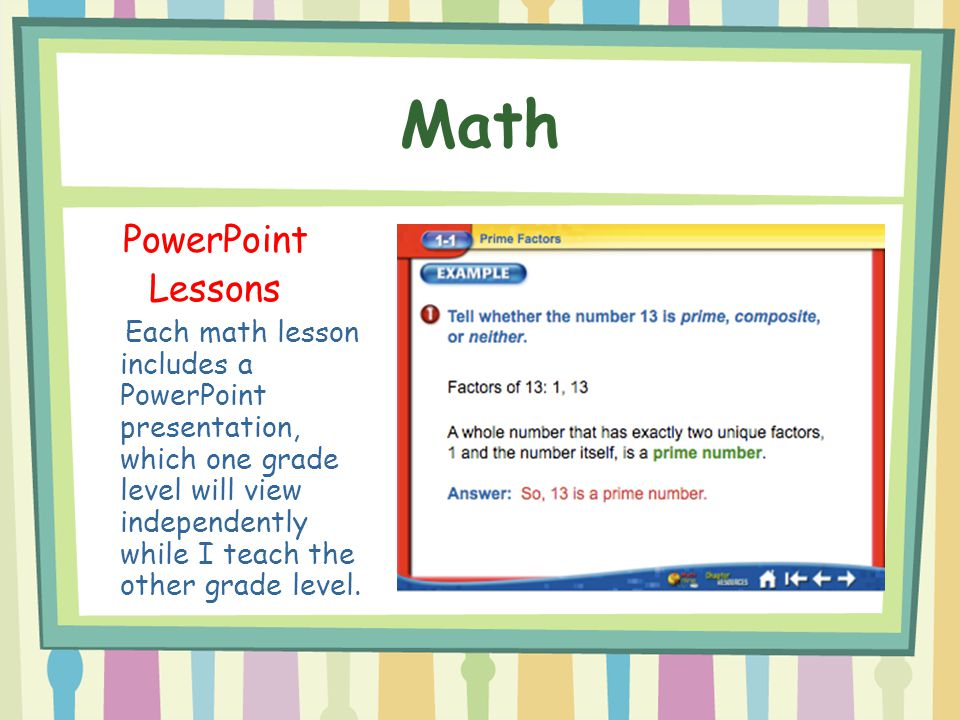 Math PowerPoint Lessons