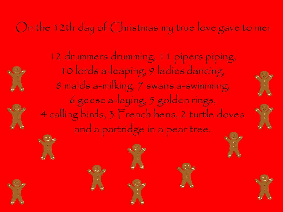On the 12th day of Christmas my true love gave to me: