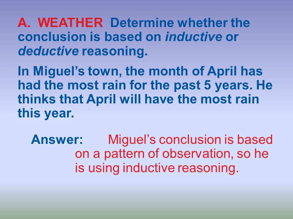 A. WEATHER Determine whether the conclusion is based on inductive or deductive reasoning.