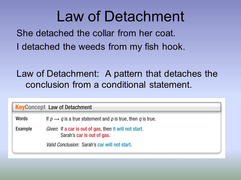 Law of Detachment She detached the collar from her coat.