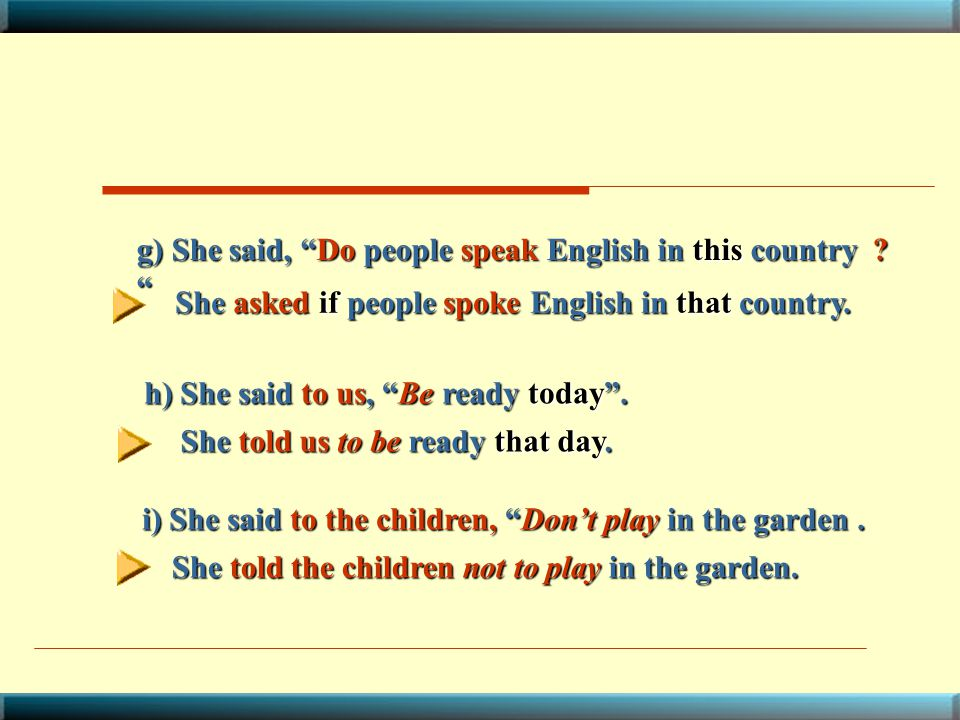 g) She said, Do people speak English in this country