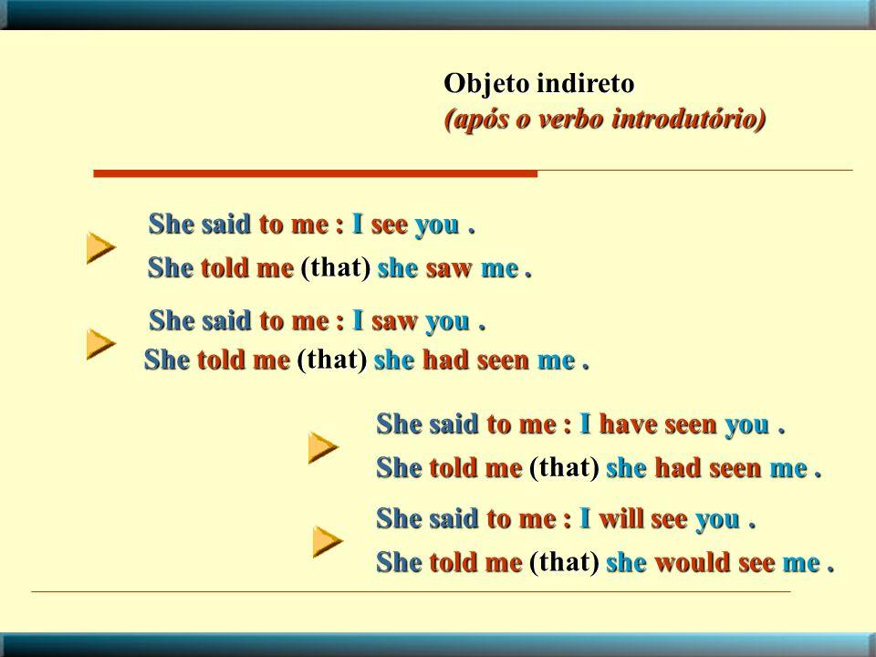 Objeto indireto (após o verbo introdutório) She said to me : I see you . She told me (that) she saw me .