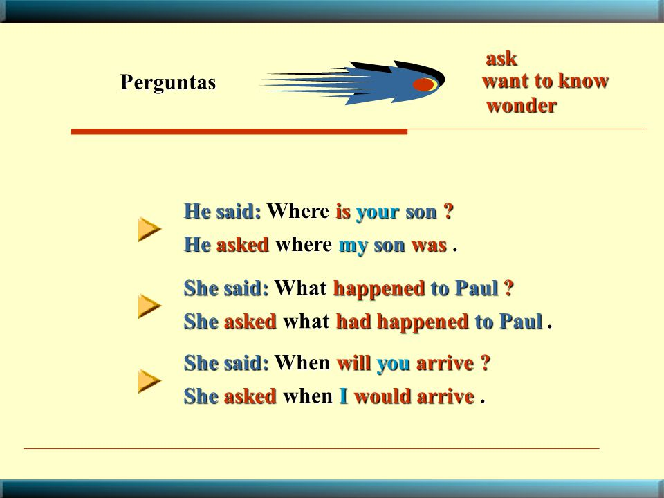 ask Perguntas. want to know. wonder. He said: Where is your son He asked where my son was . She said: What happened to Paul