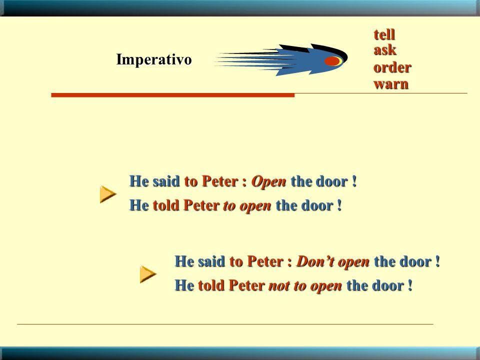 tell ask. Imperativo. order. warn. He said to Peter : Open the door ! He told Peter to open the door !