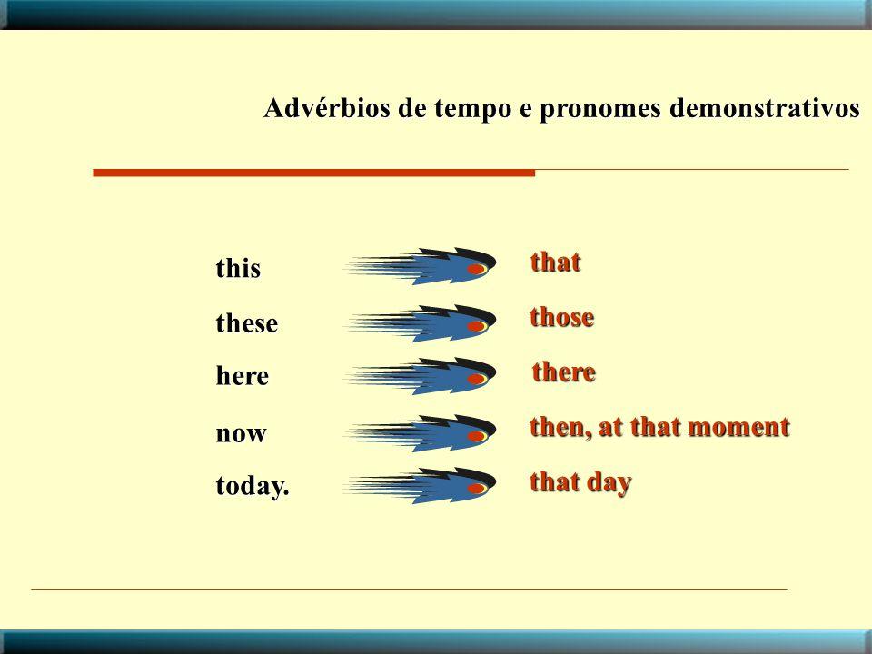 Advérbios de tempo e pronomes demonstrativos