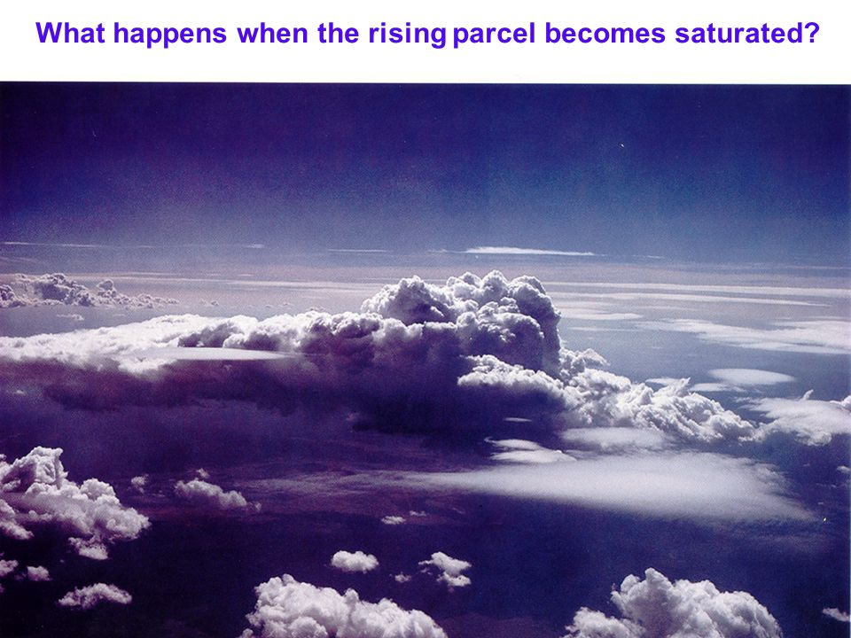 What happens when the rising parcel becomes saturated
