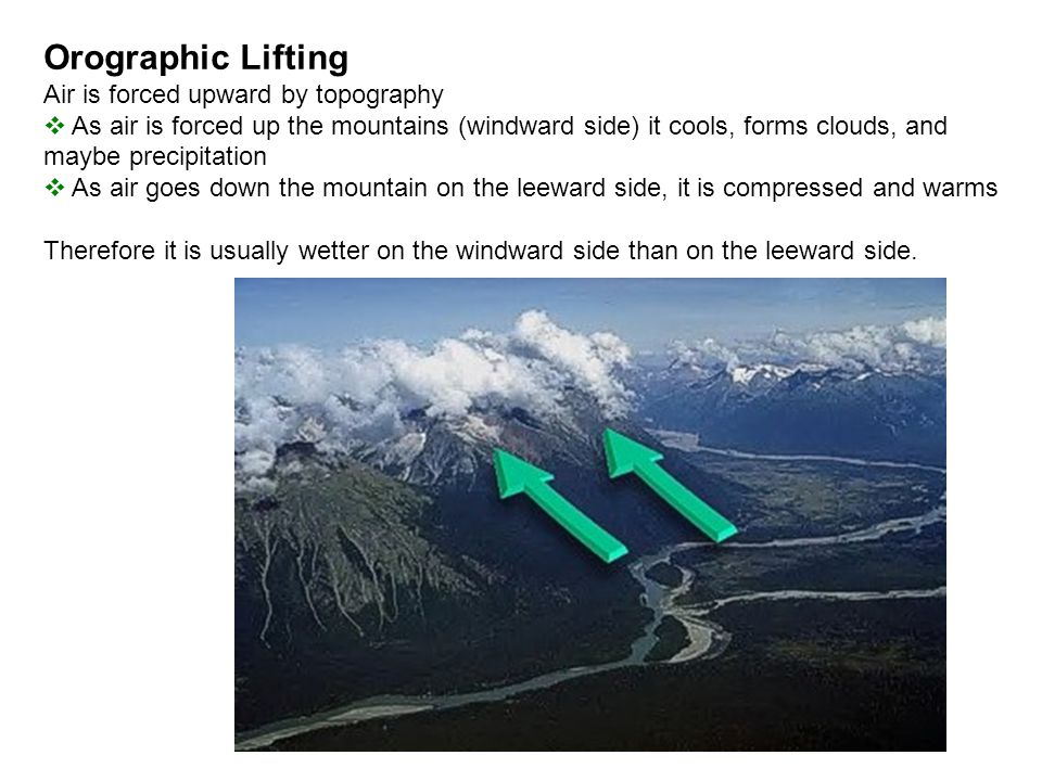 Orographic Lifting Air is forced upward by topography