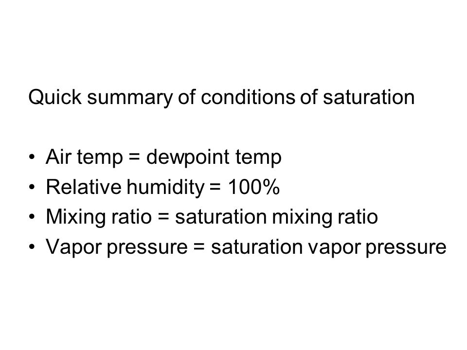 Quick summary of conditions of saturation