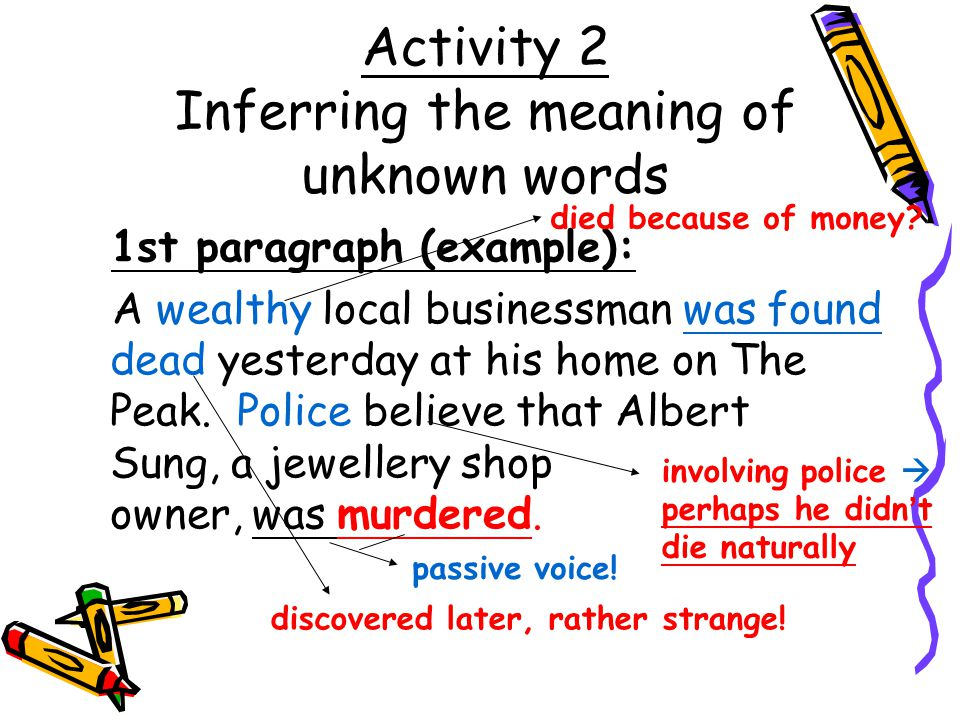 Activity 2 Inferring the meaning of unknown words
