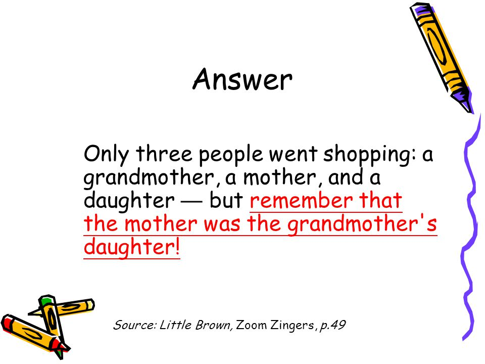 Answer Only three people went shopping: a grandmother, a mother, and a daughter — but remember that the mother was the grandmother s daughter!