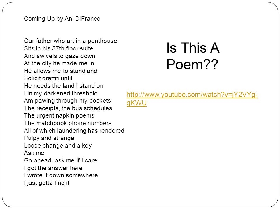 Is This A Poem http://www.youtube.com/watch v=jY2VYg-qKWU