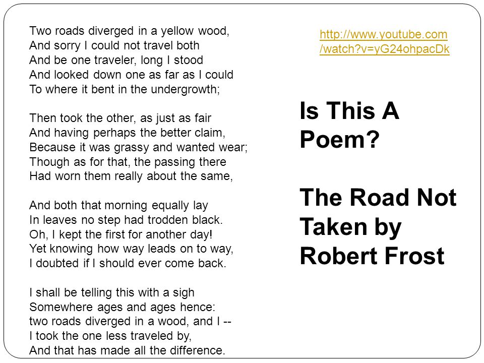 1 The Road Not Taken Frost Robert 1920 Mountain Interval