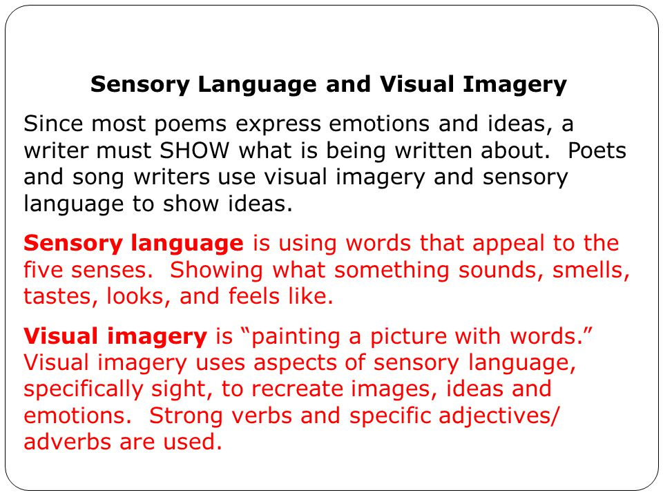 Sensory Language and Visual Imagery