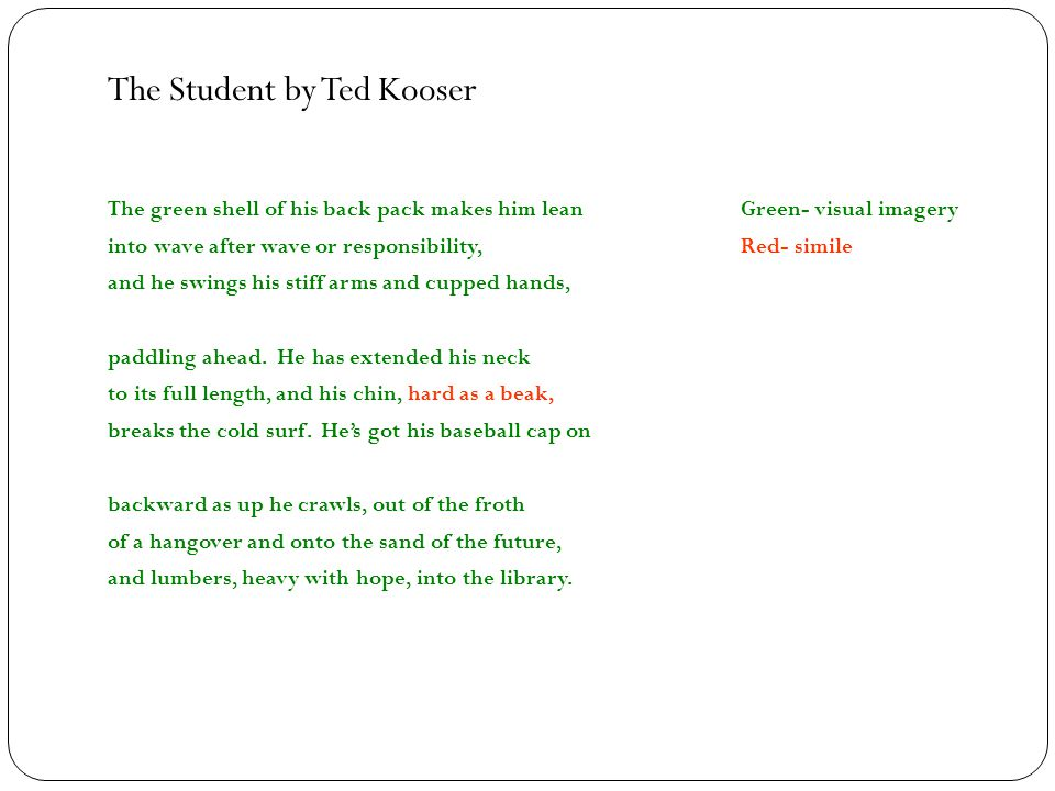 The Student by Ted Kooser