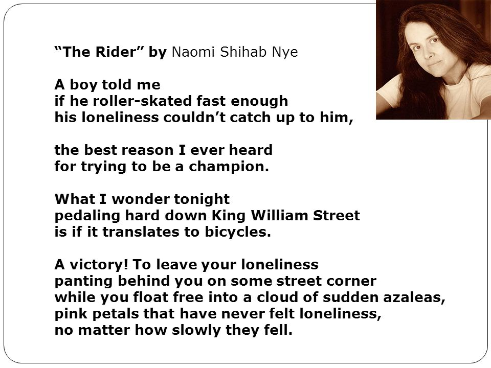 The Rider by Naomi Shihab Nye