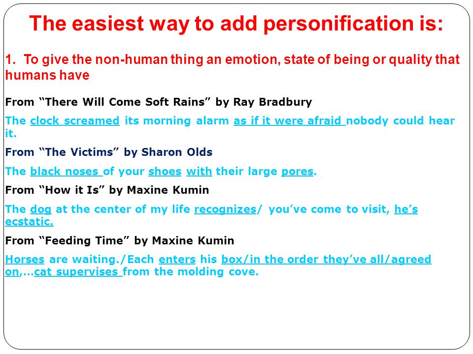 The easiest way to add personification is: