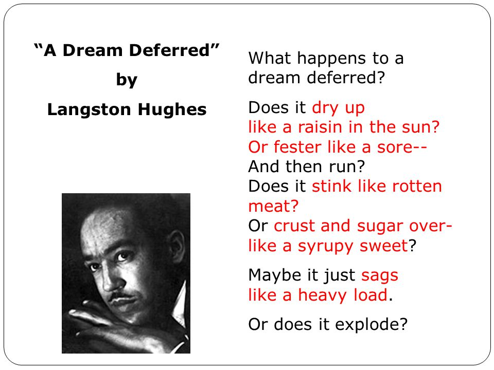 A Dream Deferred by. Langston Hughes. What happens to a dream deferred