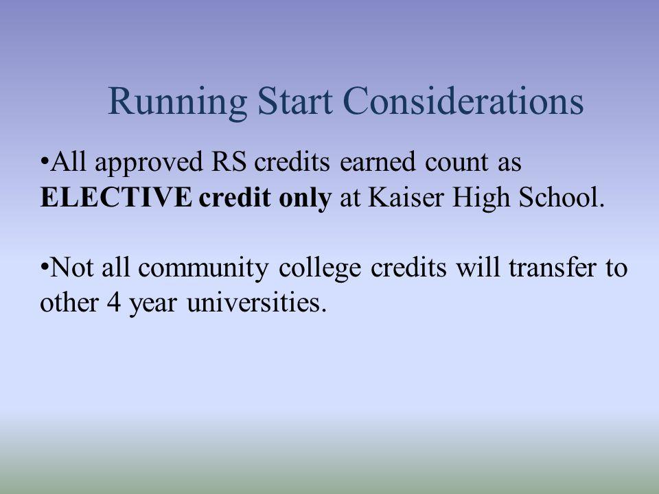 Running Start Considerations
