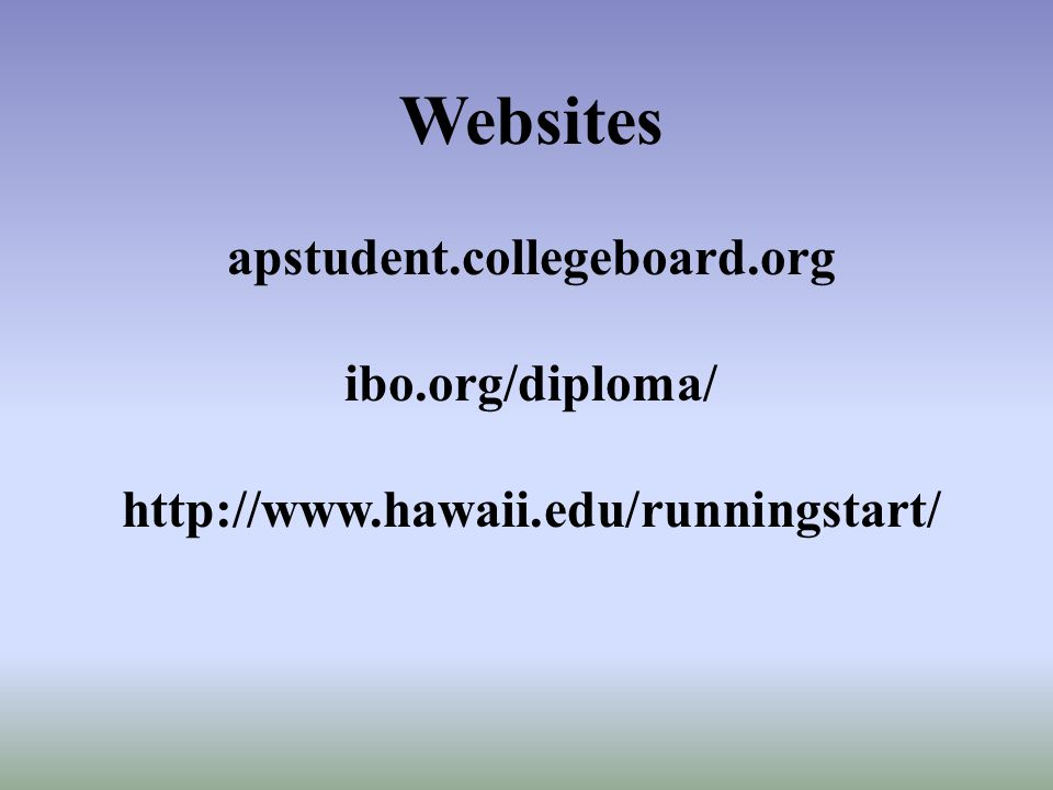 Websites apstudent.collegeboard.org ibo.org/diploma/