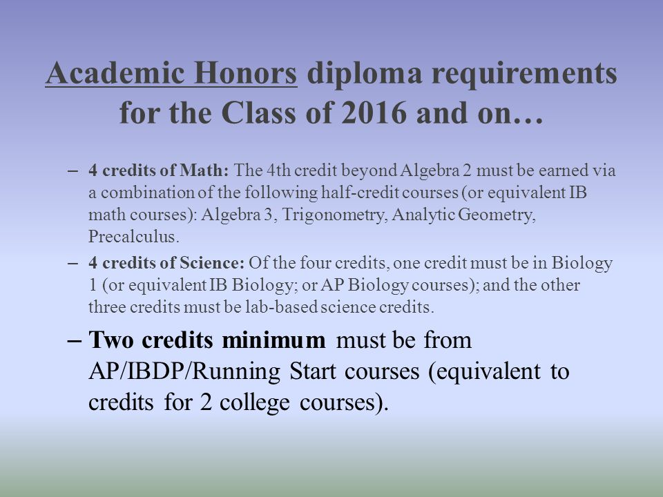 Academic Honors diploma requirements for the Class of 2016 and on…