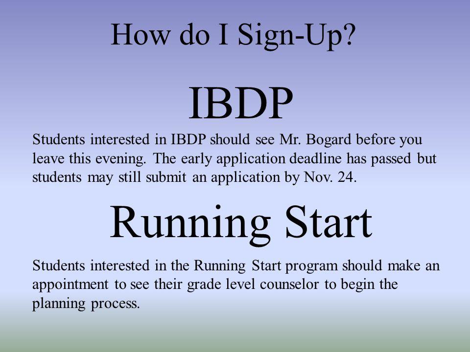 IBDP Running Start How do I Sign-Up