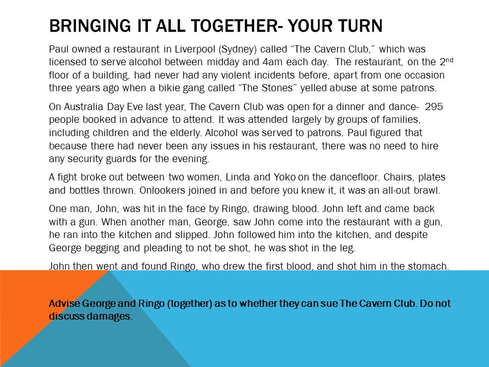 Bringing it all together- YOUR TURN