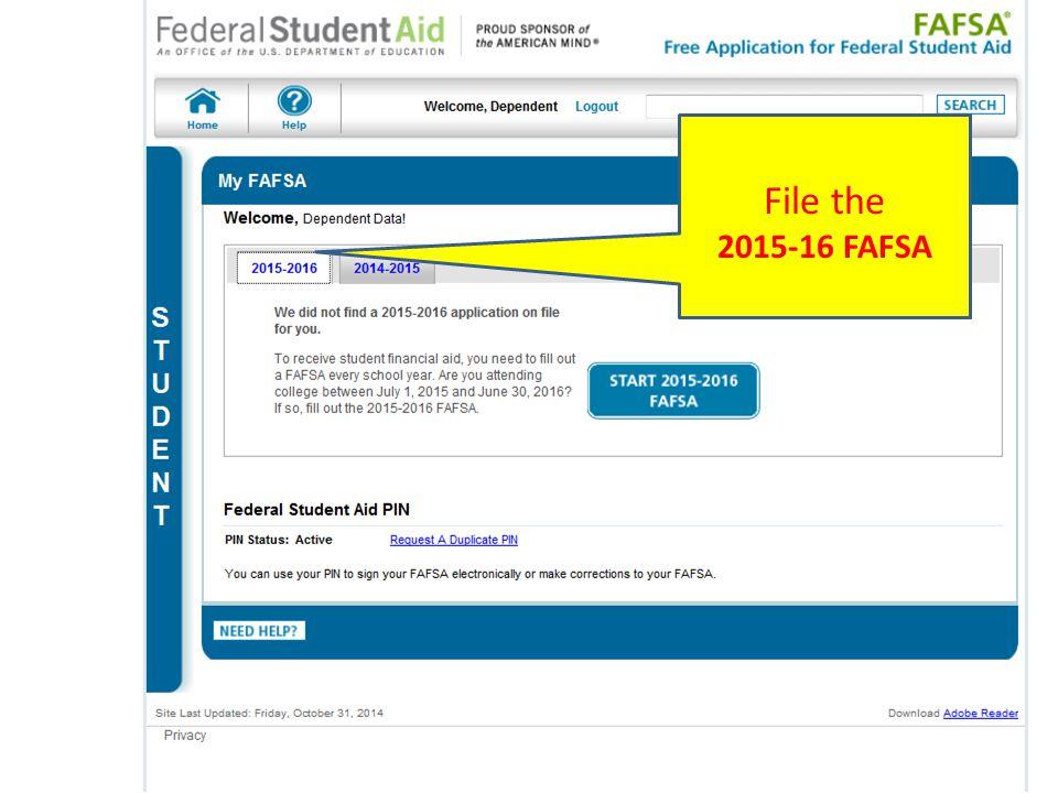 Begin here for initial FAFSA