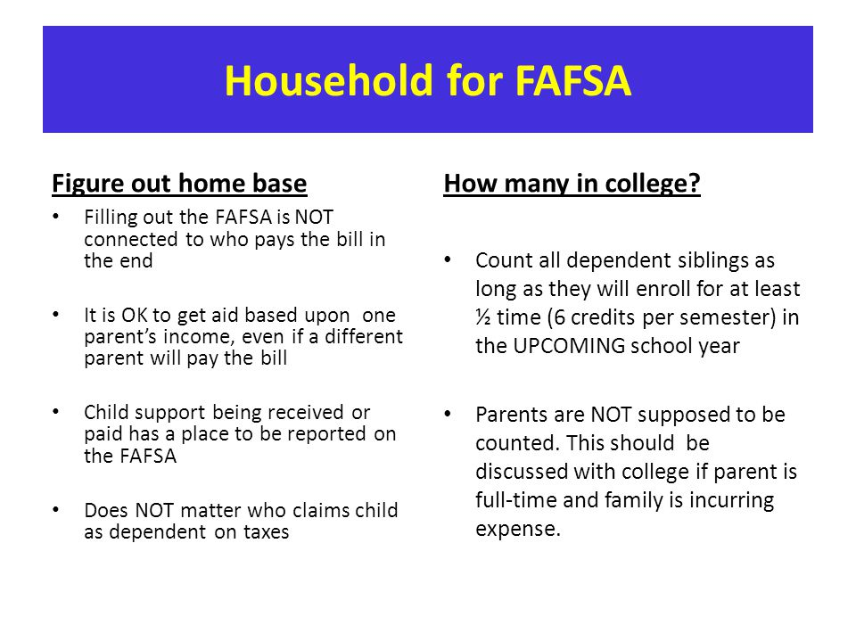 Household for FAFSA Figure out home base How many in college