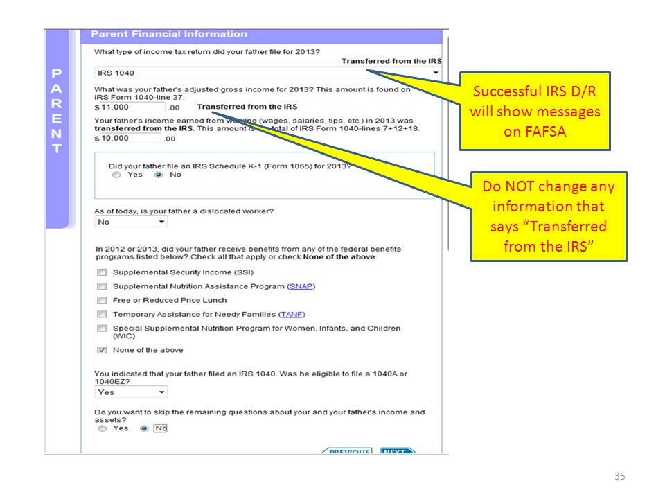 Successful IRS D/R will show messages on FAFSA