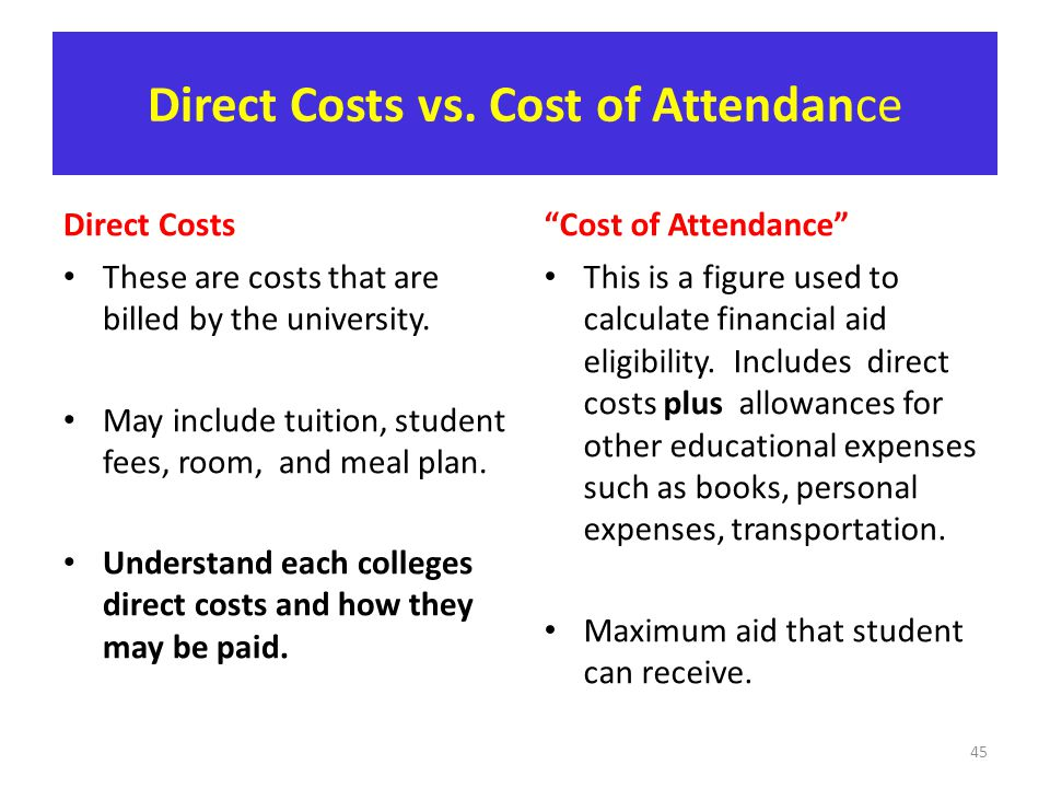 Direct Costs vs. Cost of Attendance