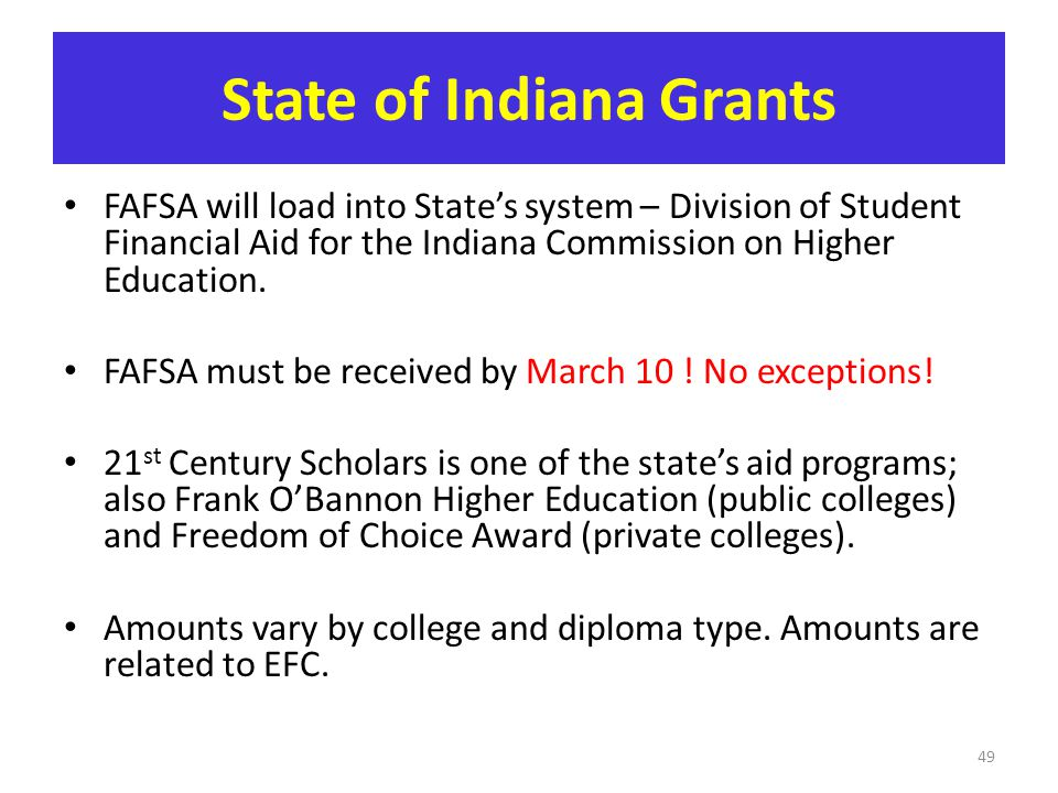 State of Indiana Grants