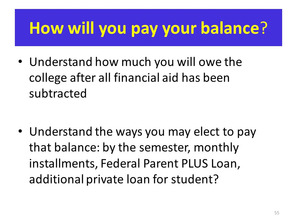 How will you pay your balance