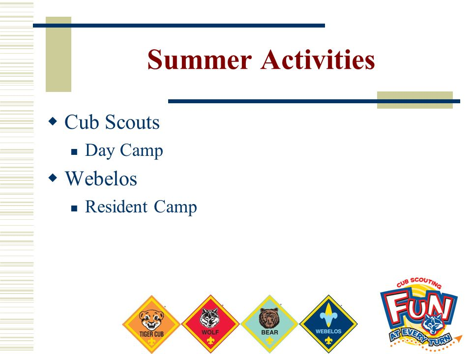 Summer Activities Cub Scouts Webelos Day Camp Resident Camp