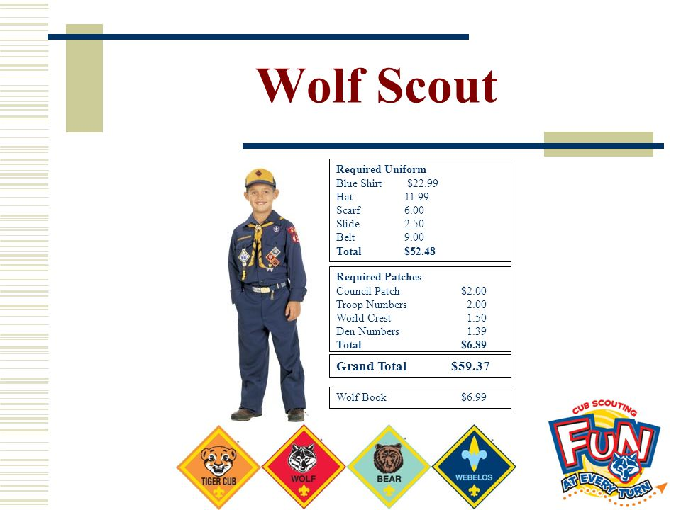 Wolf Scout Grand Total $59.37 Required Uniform Blue Shirt $22.99