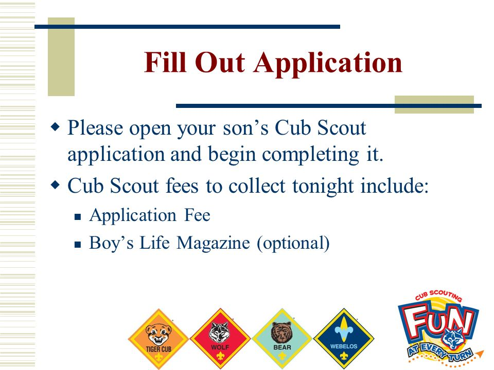 Fill Out Application Please open your son's Cub Scout application and begin completing it. Cub Scout fees to collect tonight include: