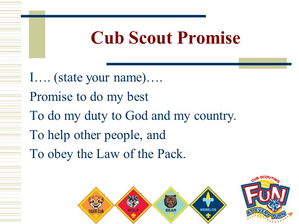 Cub Scout Promise I…. (state your name)…. Promise to do my best