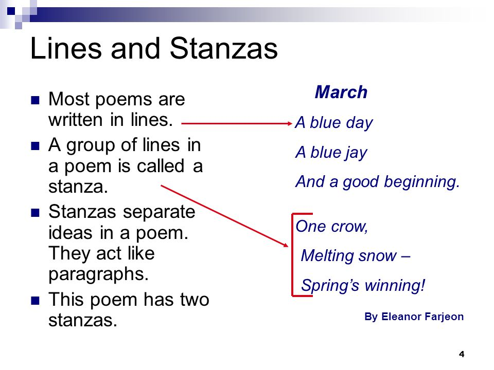 Lines and Stanzas Most poems are written in lines.