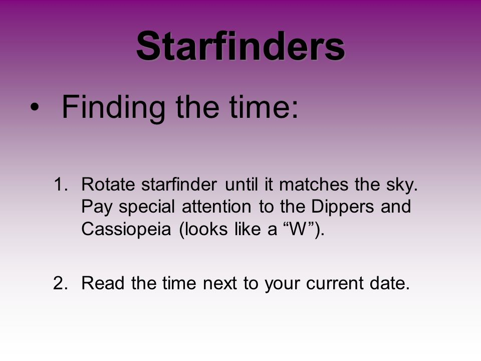 Starfinders Finding the time: