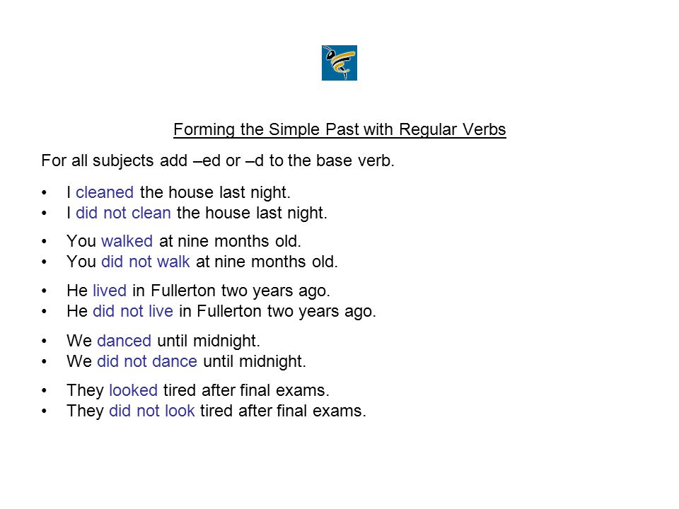 Forming the Simple Past with Regular Verbs