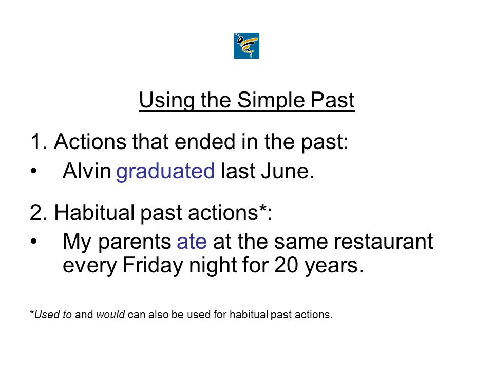 1. Actions that ended in the past: Alvin graduated last June.