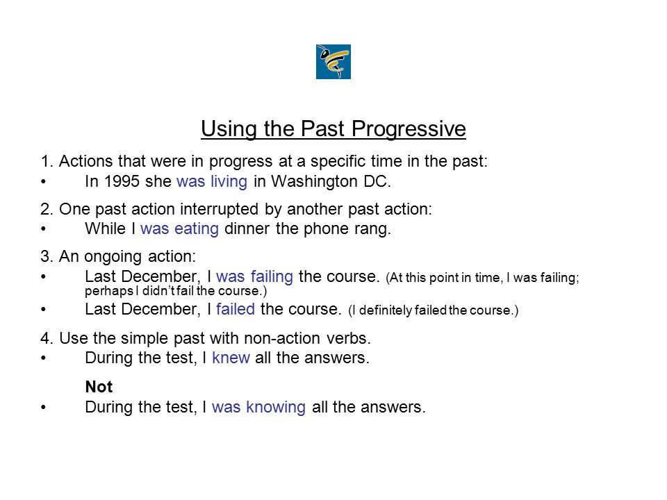 Using the Past Progressive
