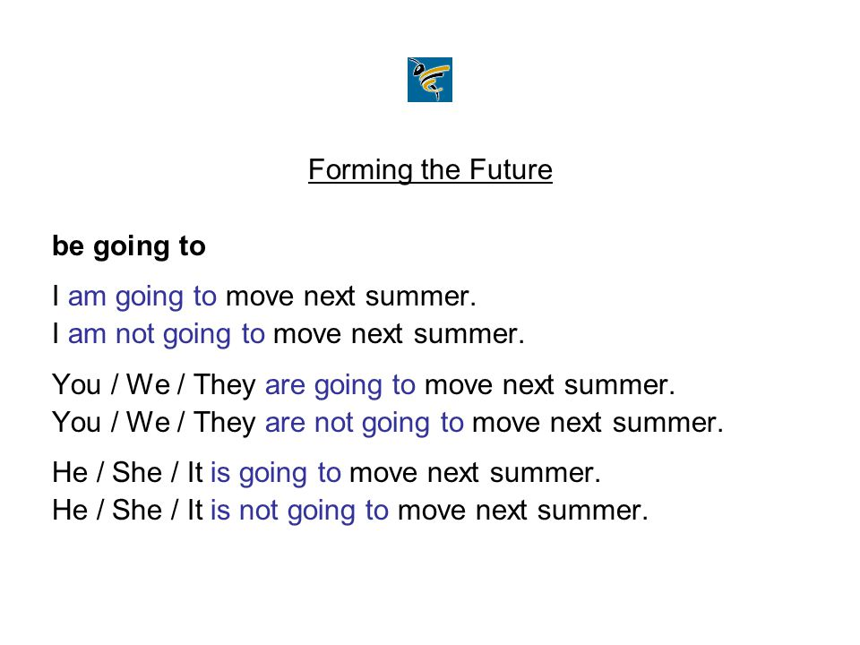 Forming the Future be going to. I am going to move next summer. I am not going to move next summer.