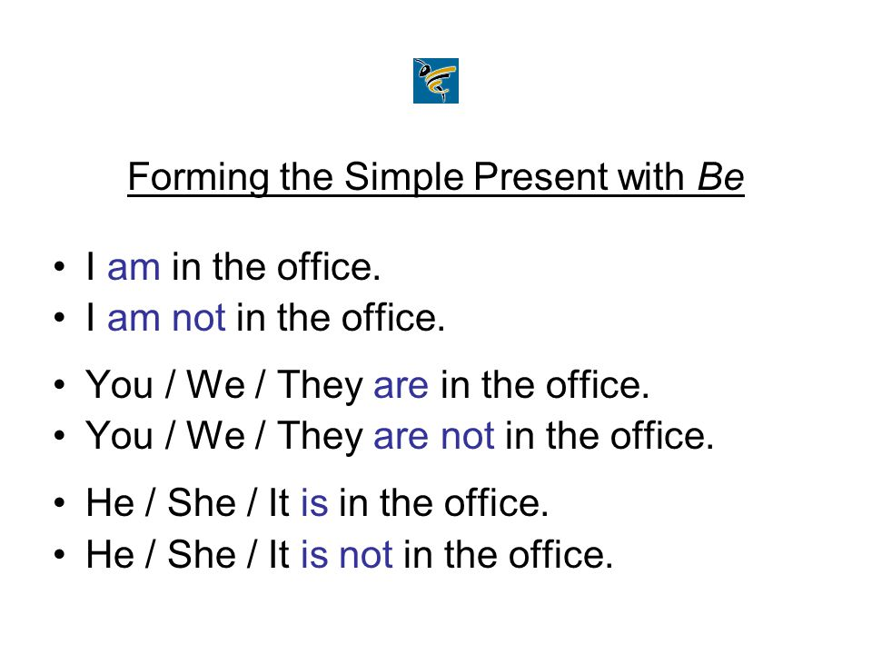 Forming the Simple Present with Be